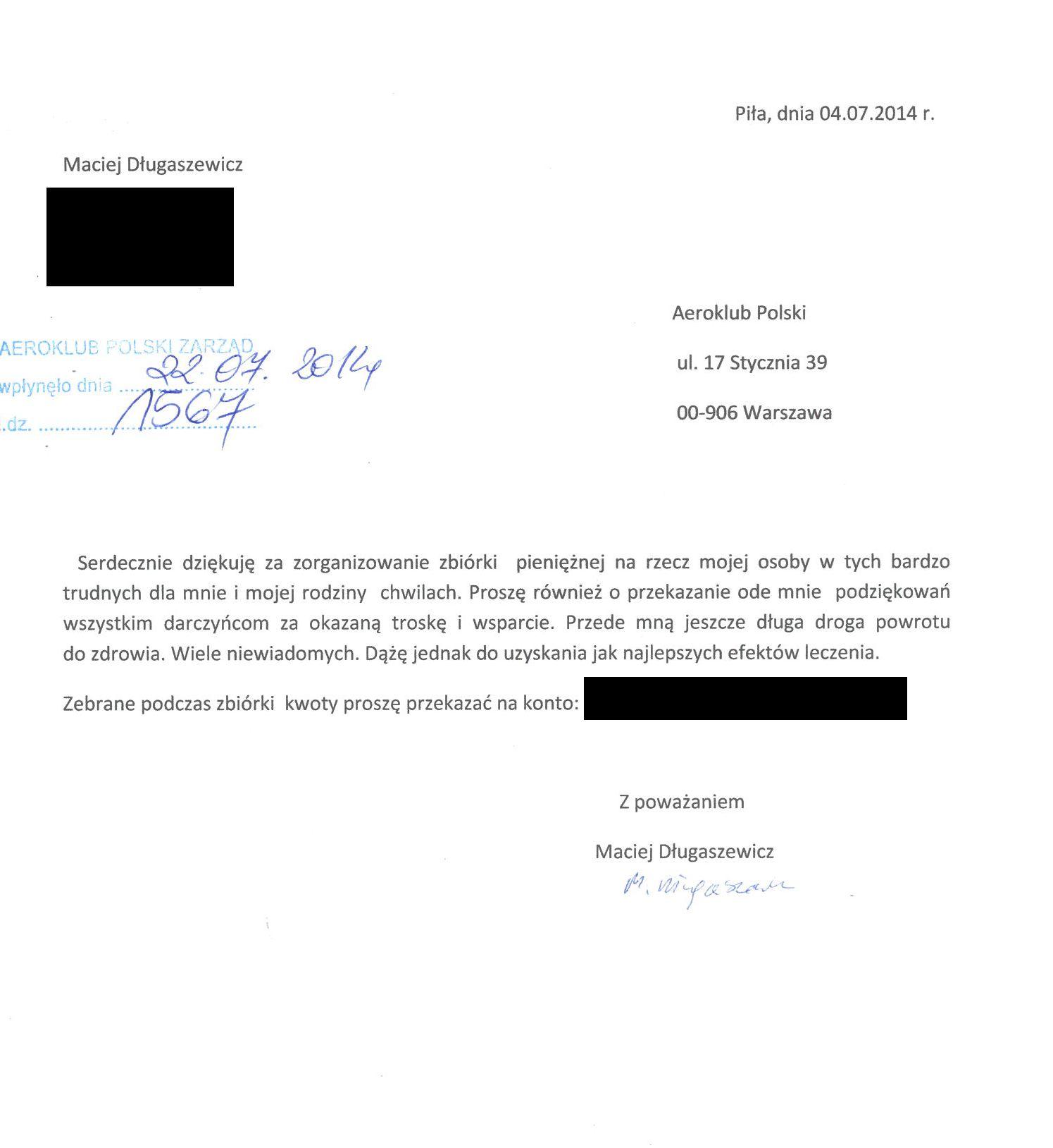 M. Długasiewicz podziękowanie